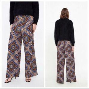 NWT Zara morocco palazzo high rise versace pants